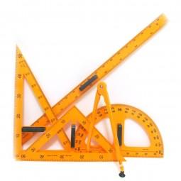 Набор линеек для школьной доски 5 предметов: лин. 1метр + трансп. + 2 угольн. + циркуль на присоске №5970