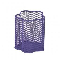 """Подставка-стакан для ручек металлическая сетка ZiBi """"Цветок"""" фиолетовый 90*90*100 мм."""