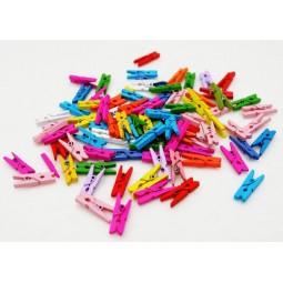 Мини прищепки для декора цветные 3.5 см набор 20шт + веревочка