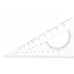 Трикутник25 см,білий з шовкографією(транспортир і геометр фігури)