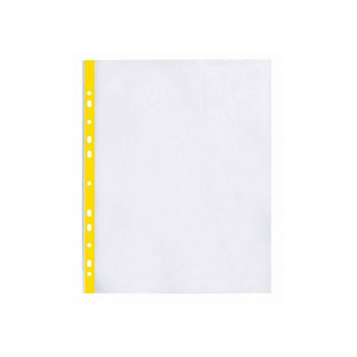 """Файл для документів А4+ Optima, 40 мкм, фактура """"глянець"""", з жовтою стрічкою (100 шт/уп)"""