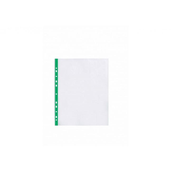 """Файл для документів А4+ Optima, 40 мкм, фактура """"глянець"""", з зеленою стрічкою (20 шт/уп)"""