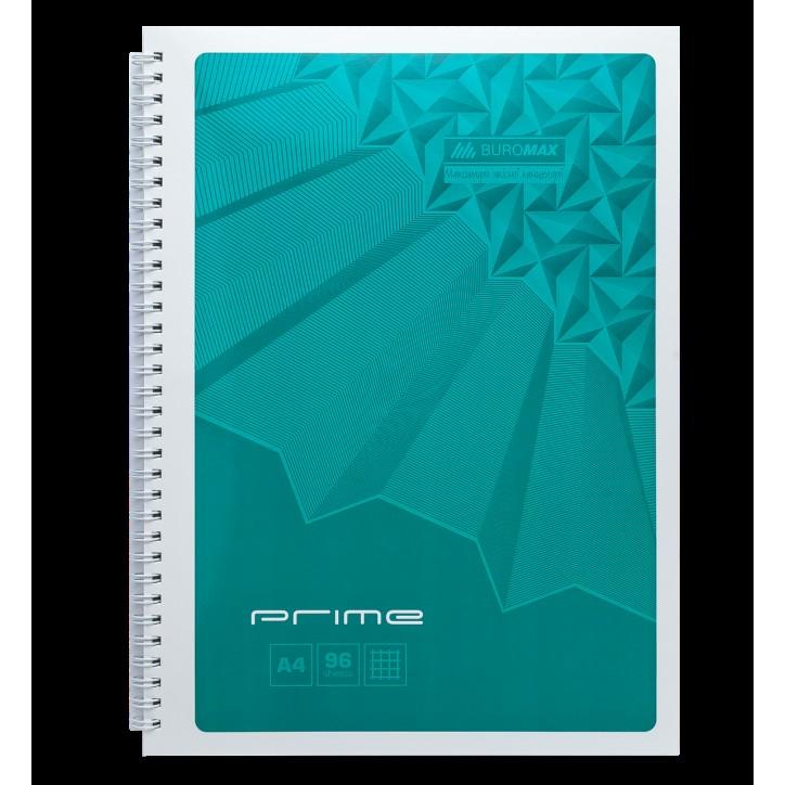 Тетрадь на пружине PRIME А4, 96л., клетка, в картонной обложке, бирюзовый
