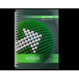 Тетрадь на пружине SPHERE А-5, 80л., клетка, картонная обложка, зеленый