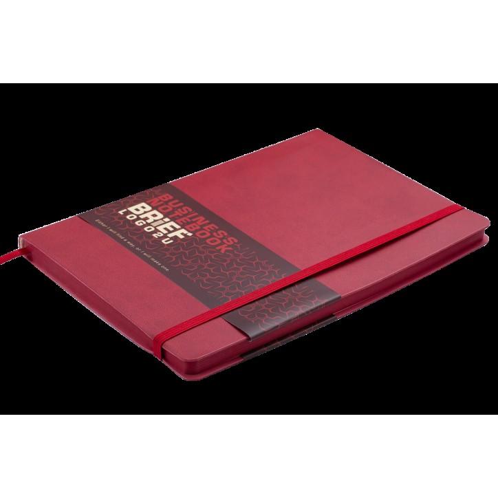 Блокнот деловой BRIEF LOGO2U А5, 96л., клетка, обложка искусственная кожа, красный