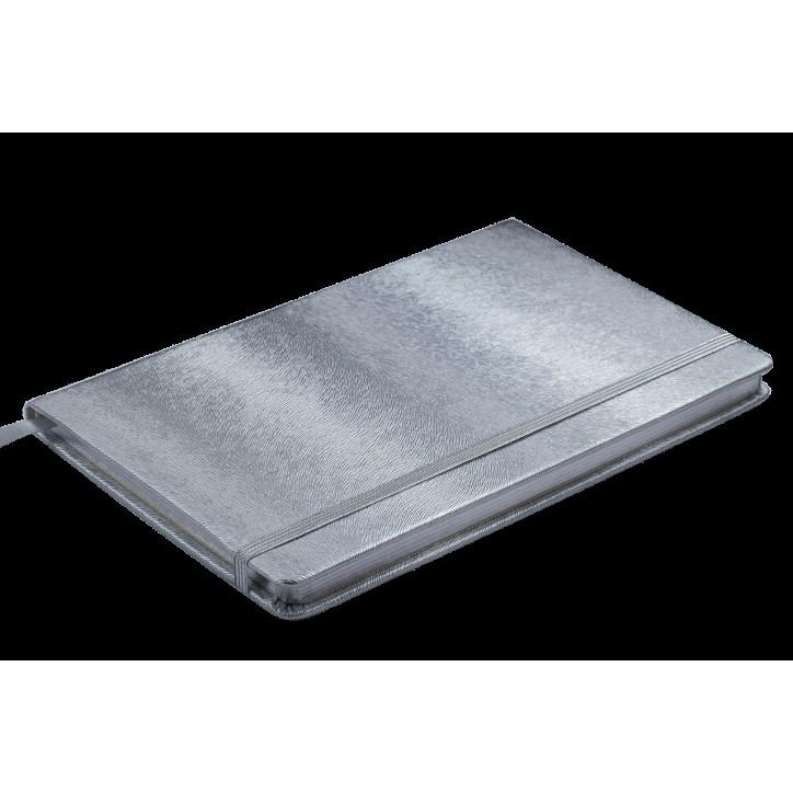 Блокнот деловой INGOT 125x195мм, 80л., клетка, обложка искусственная кожа, серебряный