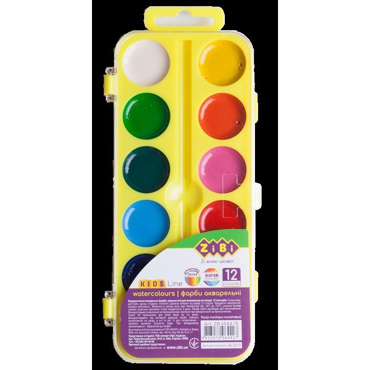 Водорастворимые акварельные краски, 12 цветов, желтый