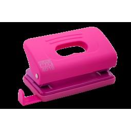 Дырокол пластиковый RUBBER TOUCH(до 10 л.), розовый