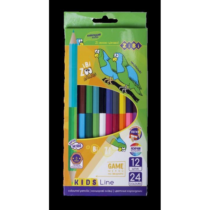 Карандаши цветные Double, 12 цветов,  KIDS Line