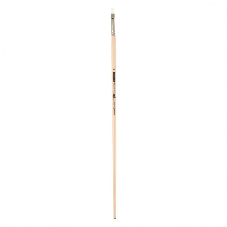 Кисть синтетика, Creamy 6973, плоская, № 4, длинная ручка, ART Line