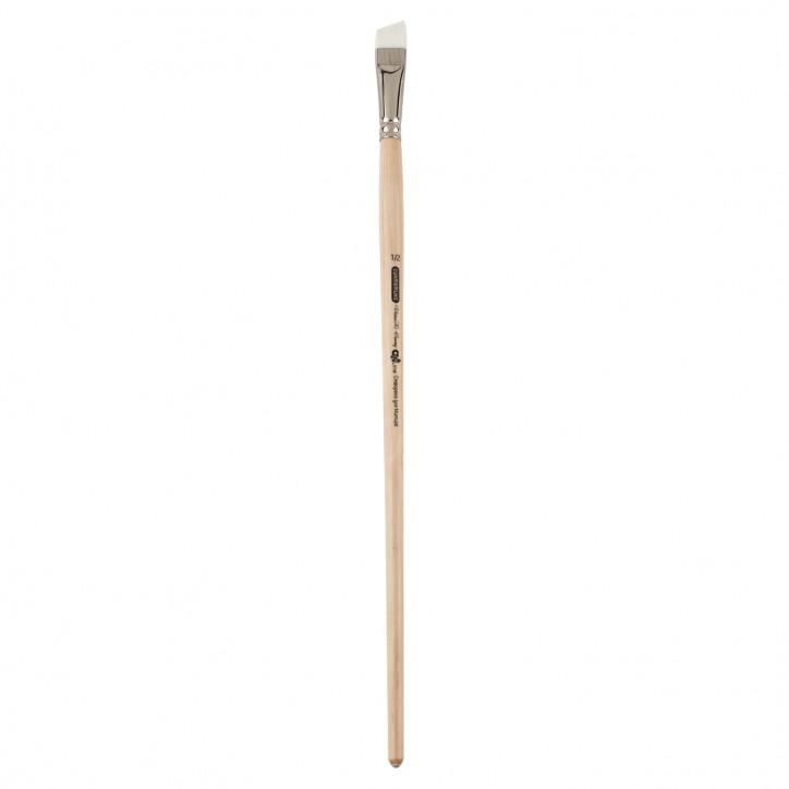 Кисть синтетика, Creamy 6973, угловая,№ 1/2, длинная ручка, ART Line