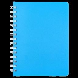 """Книжка записн. на пруж. """"BRIGHT"""" А6, 60л.,кл., пластик.обл., голубой"""