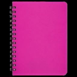 "Книжка записн. на пруж. ""BRIGHT"" А6, 60л.,кл., пластик.обл., розовый"