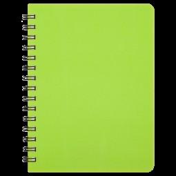"Книжка записн. на пруж. ""BRIGHT"" А6, 60л.,кл., пластик.обл., салатовый"