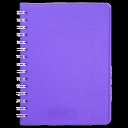 "Книжка записн. на пруж. ""BRIGHT"" А6, 60л.,кл., пластик.обл., фиолетовый"