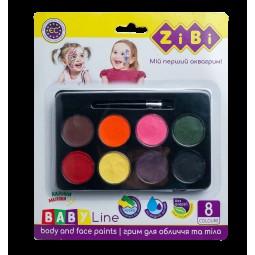 Краски для грима лица и тела на водной основе, 8 цветов, BABY Line