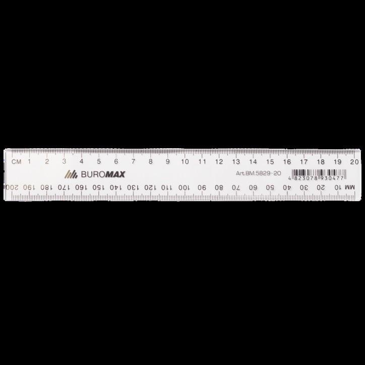 Линейка пластиковая JOBMAX 20см., прозрачная
