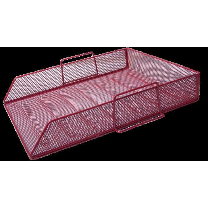 Лоток для бумаг горизонтальный BUROMAX, металлический, красный