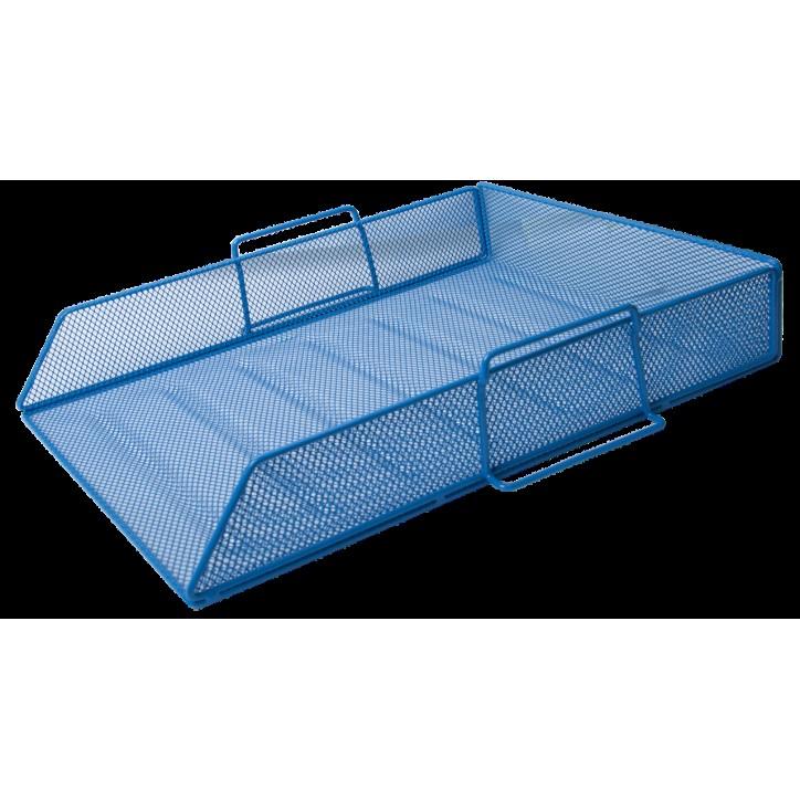 Лоток для бумаг горизонтальный BUROMAX, металлический, синий