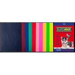 Набір кольорового паперу А4, 80г/м2, DARK+NEON, 10цв., 20л.