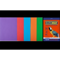 Набір кольорового паперу А4, 80г/м2, INTENSIV, 5цв., 20л.