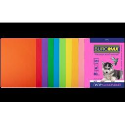 Набір кольорового паперу А4, 80г/м2, NEON+INTENSIV, 10цв., 20л.