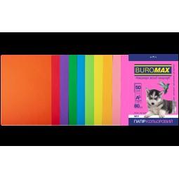 Набір кольорового паперу А4, 80г/м2, NEON+INTENSIV, 10цв., 50л.