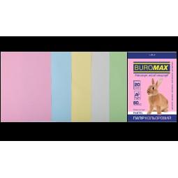 Набір кольорового паперу А4, 80г/м2, PASTEL, 5цв., 20л.