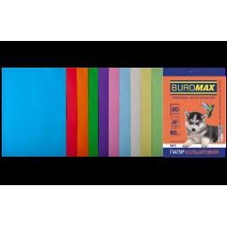 Набір кольорового паперу А4, 80г/м2, PASTEL+INTENSIV, 10цв., 20л.
