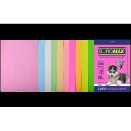 Набір кольорового паперу А4, 80г/м2, PASTEL+NEON, 10цв., 20л.