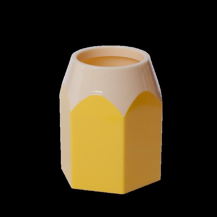 Подставка для ручек КАРАНДАШ, пластик желтая, KIDS Line