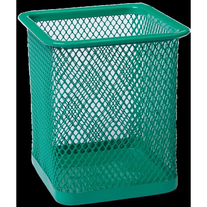 Подставка для ручек квадратная BUROMAX, металлическая, зеленая
