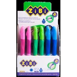 Ручка шариковая для правши с резиновым грипом, синий, дисплей, KIDS Line