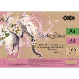 Скетчбук А4, 40 листов, пружина, белый блок 100 г/м2