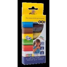 Тесто для лепки 6*20г в картонной упаковке, BABY Line