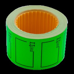 "Ценник 35*25мм, ""ЦІНА"", (240шт, 6м), прямоугольный, внешняя намотка, зеленый"