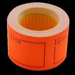 "Ценник 50*40мм, ""ЦІНА"", (150шт, 6м), прямоугольный, внешняя намотка, оранжевый"