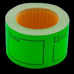"Ценник 50*40мм, ""ЦІНА"", (240шт, 6м), прямоугольный, внешняя намотка, зеленый"