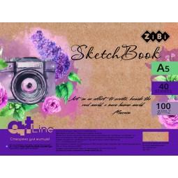 Скетчбук А5, 40 аркушів, пружина, білий блок 100 г/м2, ART Line