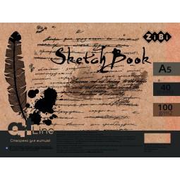 Скетчбук А5, 40 аркушів, пружина, кремовий блок 100 г/м2, ART Line
