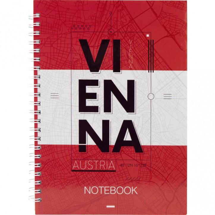 Блокнот на спирали твердая обл., А5, 96л. Vienna