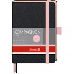 Книга записная Компаньон чорн. А6- клетка розовый срез