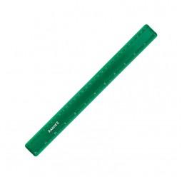 Линейка пластиковая, 30 см, матовая, зеленая