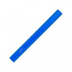 Линейка пластиковая, 30 см, матовая, синяя