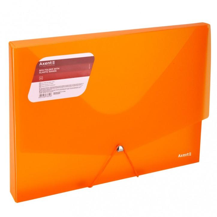 Папка на резинках объемная, A4, прозрачная оранжевая