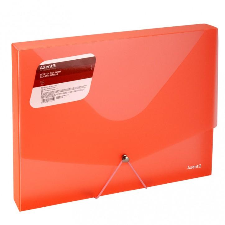 Папка на резинках объемная,A4,прозрачная красная