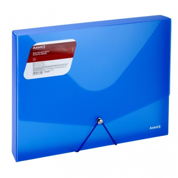 Папка на резинках объемная,A4,прозрачная синяя