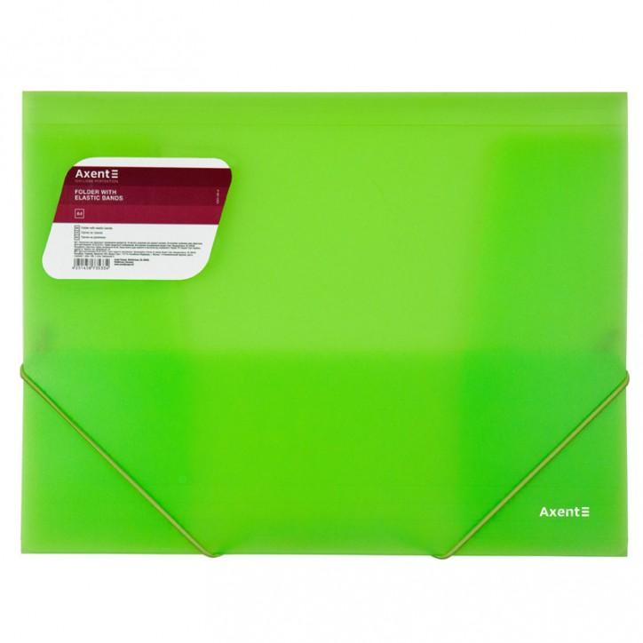 Папка на резинках, A4, прозрачная зеленая