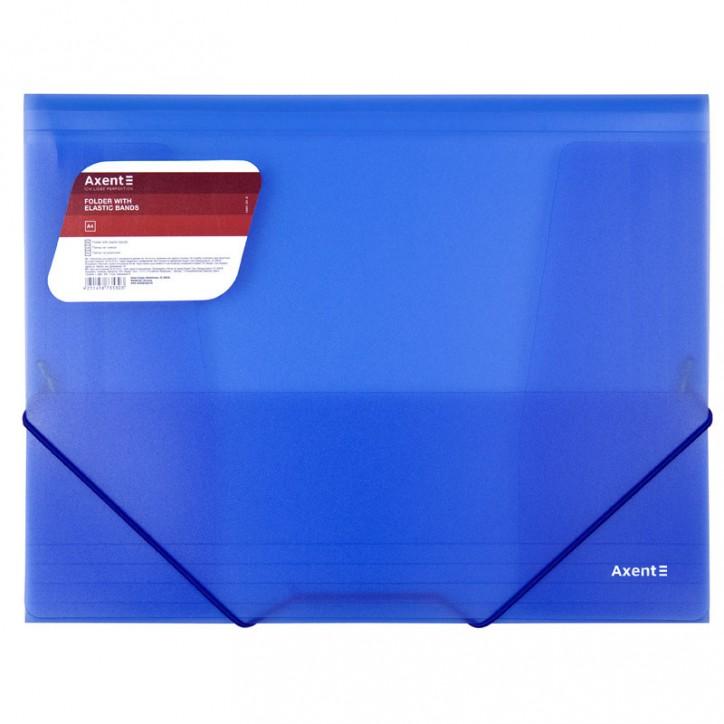 Папка на резинках, A4, прозрачная синяя