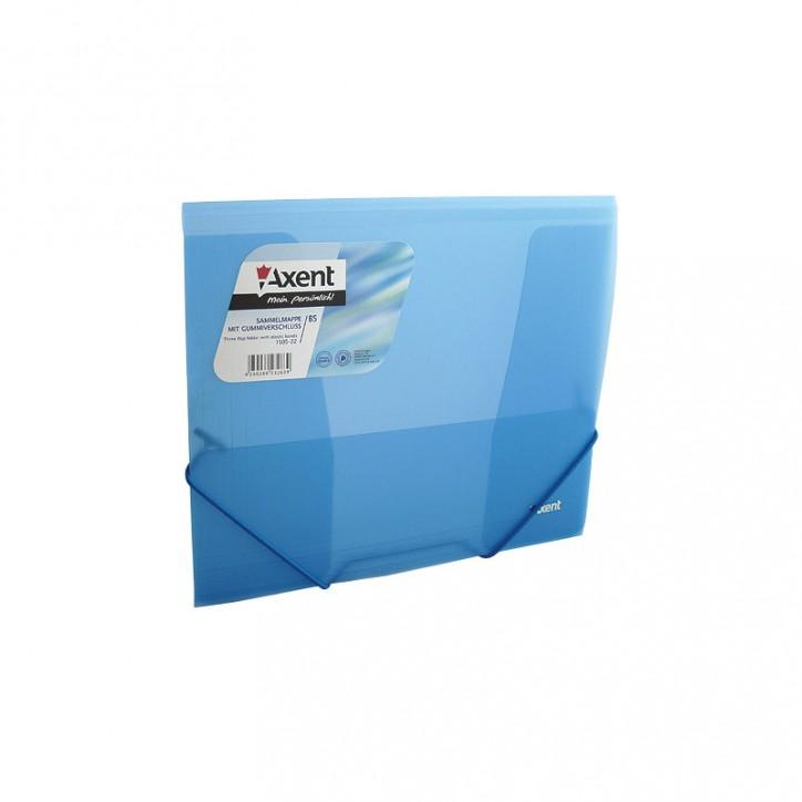 Папка на резинках, B5, прозрачная синяя
